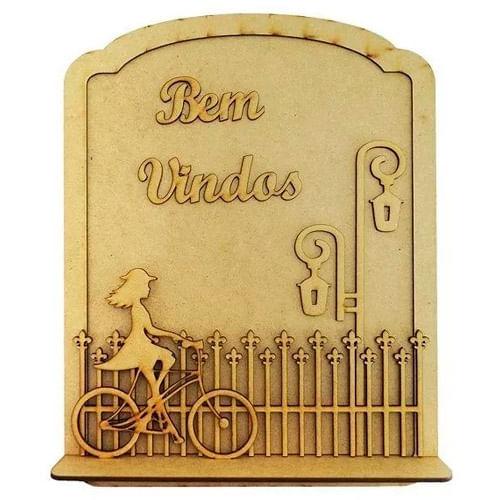 Quadro-Moldura-Decoracao-Bem-Vindos-Base-Com-Bicicleta-24x30-Mdf-Madeira
