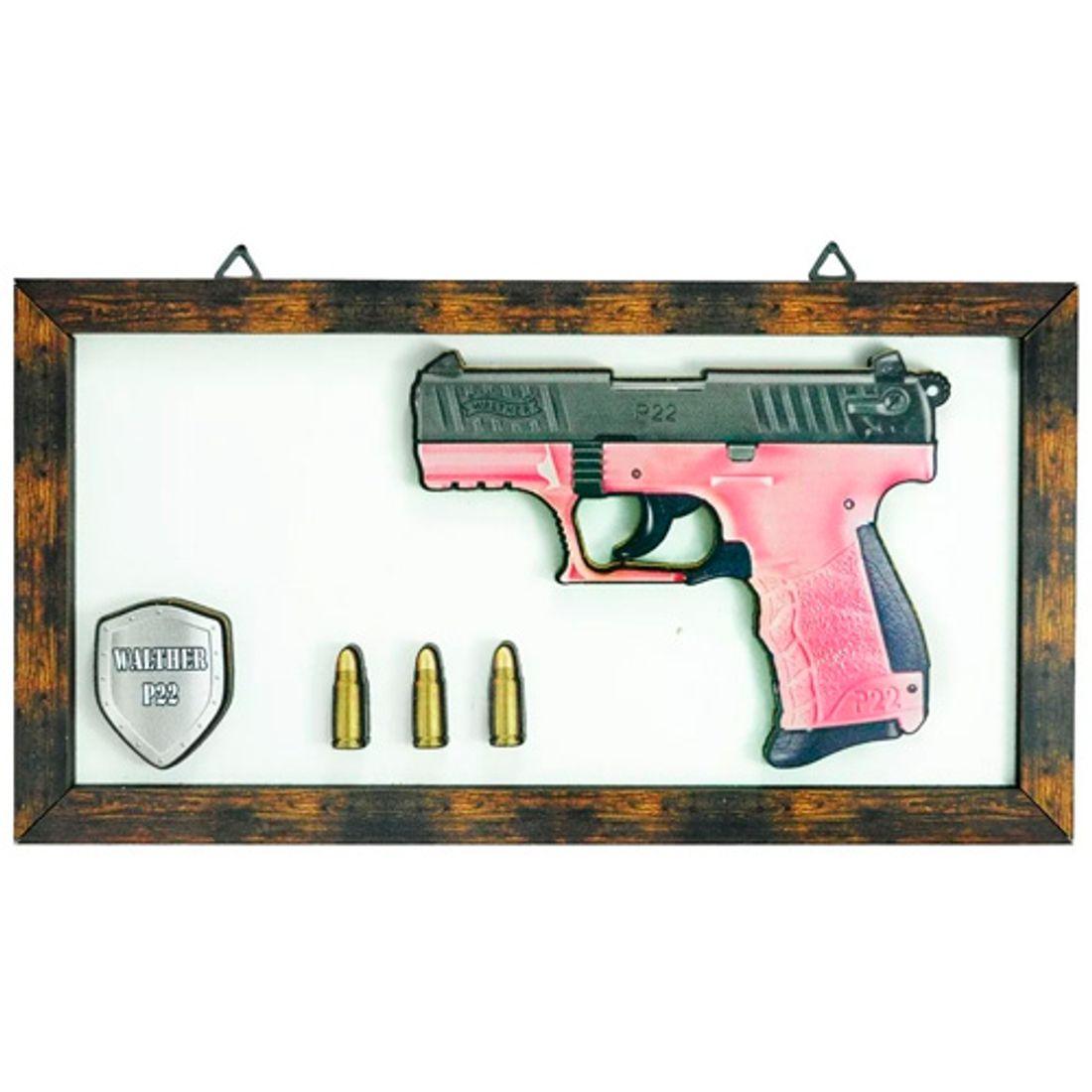 Quadro-3D-Arma-de-Fogo-Walther-P22-Mdf-Madeira-Adesivado