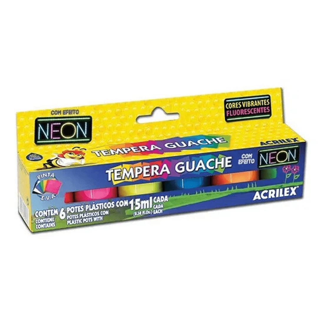 Kit-3-Tinta-Tempera-Guache-15ml-cada-com-6-Cores-Neon-01006-Acrilex