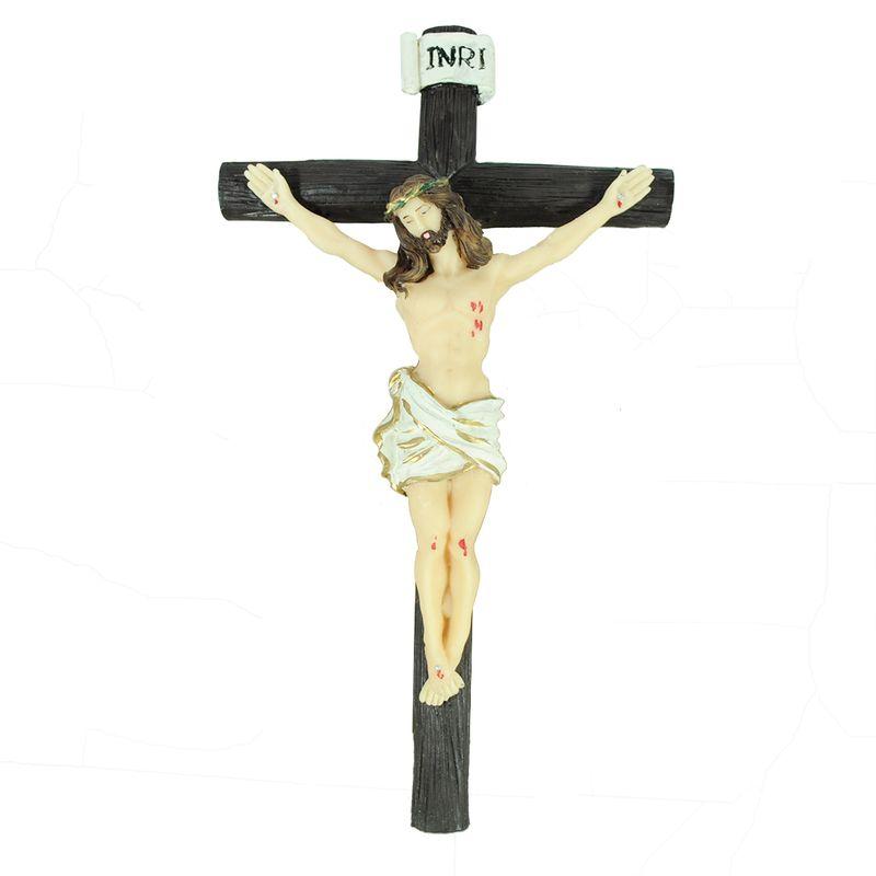Cruz Jesus Cristo Pequena 22,5cm Resina Pintada