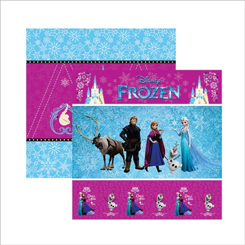 Papel Scrap Festa Disney Frozen 1 Cenário E Bandeirolas Sdfd042 - Toke E Crie