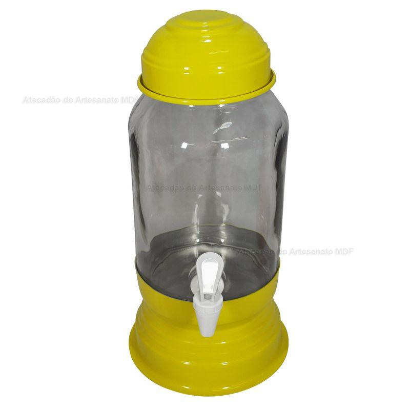 Suqueira Amarela Com Vidro 3 Litros Aluminio