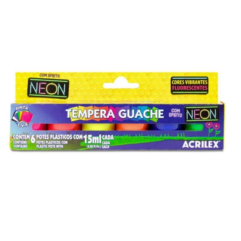 Tinta Tempera Guache 15ml Cada com 6 Cores Neon 01006 Acrilex