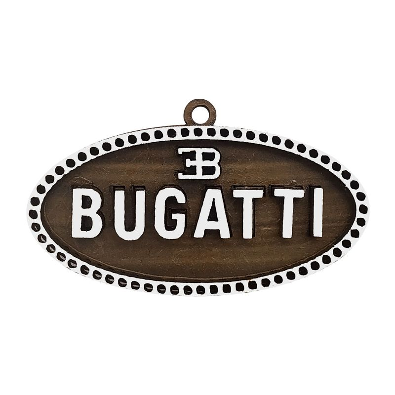 Pacote 50 Chaveiro 3D Marca Bugatti 6cm Mdf Madeira Decorada