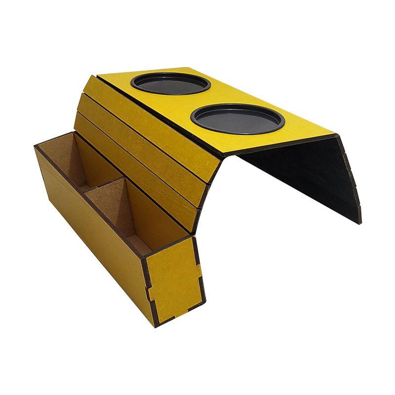 Esteira para Braço de Sofá com Porta Copos e Controle Amarelo Rustico Mdf Madeira
